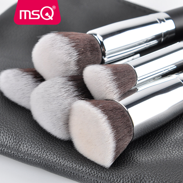 MSQ Professional 15pcs Makeup Brushes Set Powder Foundation Eyeshadow Make Up Brush Kit Cosmetics Synthetic Hair PU Leather Case 2