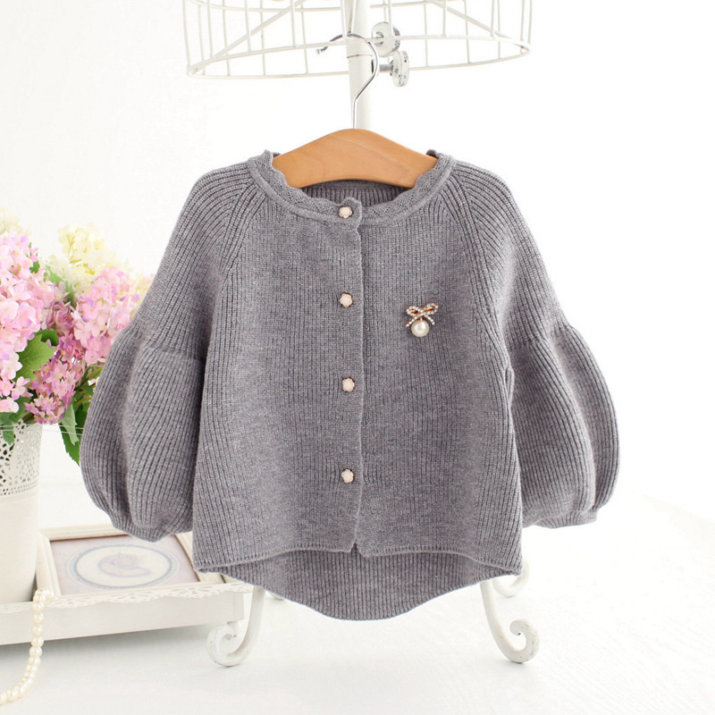 Baby Girl Sweater Children 2018 Spring Lantern Sleeve Bow Pearls Sequined Sweater Cardigan Jacket Cardigan For Girls Cardigan