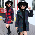 Girls Winter Wool Coats Long Plaid Jacket Coat Children's Windbreaker For Girls Jas Girls Wol Childrens Coats SYHB120404