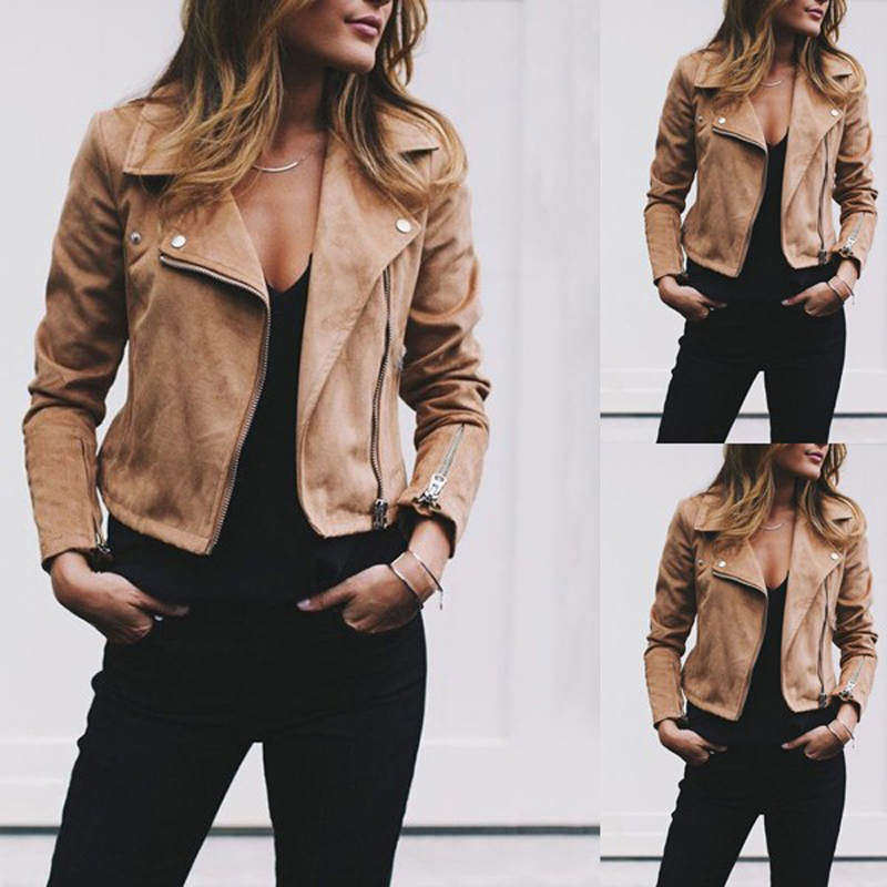 HTB11Cd5aq67gK0jSZFHq6y9jVXa6 Fashion Women's Ladies Leather Jackets Casual Coats Zip Up Biker Flight Tops Clothes