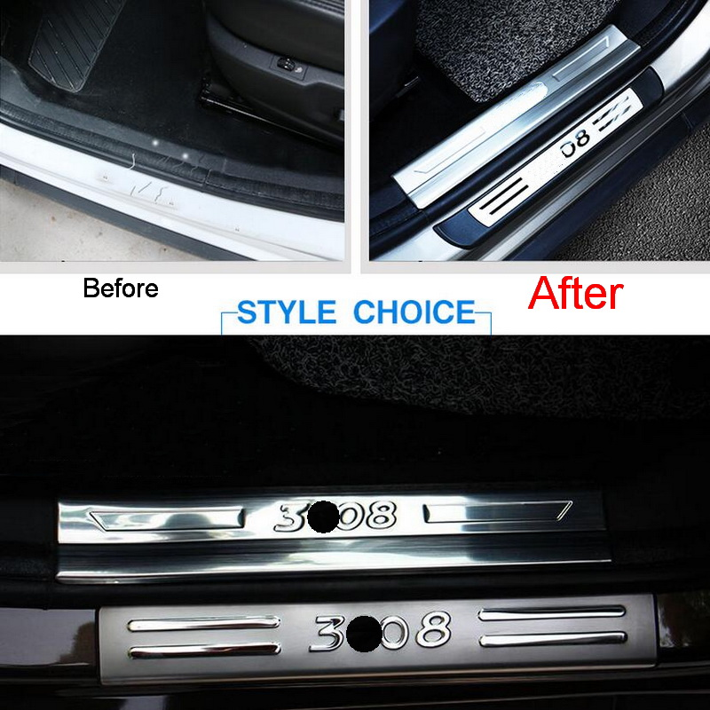 4 Pcs DIY font b Car b font Styling New Stainless Steel Inner and Outer Door