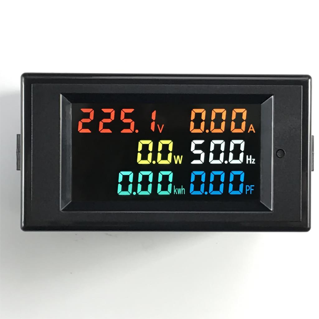 6IN1 AC Monitor 110V 220V 380V 100A Voltage Current Power Factor Active KWH Electric Energy Frequency Meter Digital LCD VOLT AMP