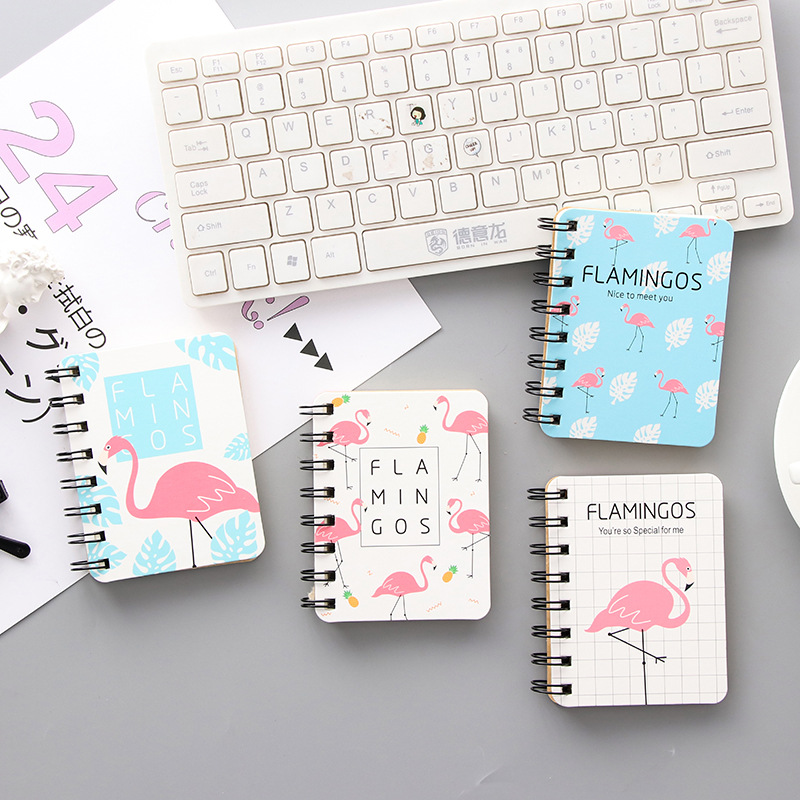 Mini Side-flipportable 80 Sheet Pocket Notebook Lovely Flamingo Hard Cover Coil Notebook Student School Stationery Diary Planner