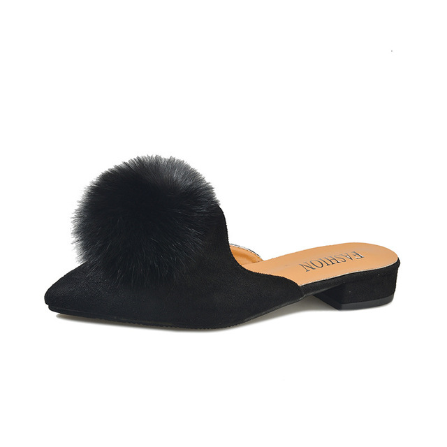 c302ccd10 Brand Pompon Mules Shoes Woman Flipflops Fur Ball Slippers Women Pointed  Toe Mules Sandals Flat Slides Winter Fluffy Fur Shoes