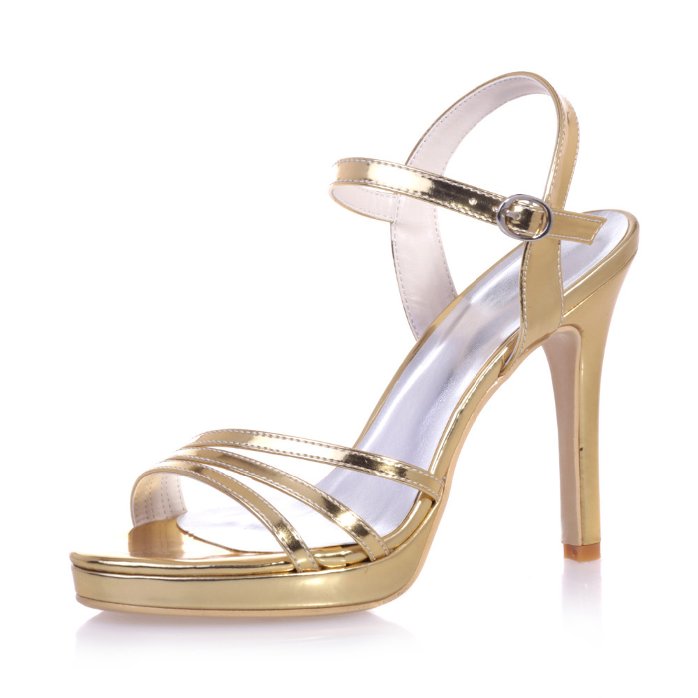 Metallic Gold Sandals Heels - Qu Heel
