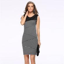 74ea12ce69 Elegante y Sexy Mujer Plus tamaño vestido de lápiz fiesta verano vestido  Ropa de Mujer Oficina estilo europeo empalme franja de .