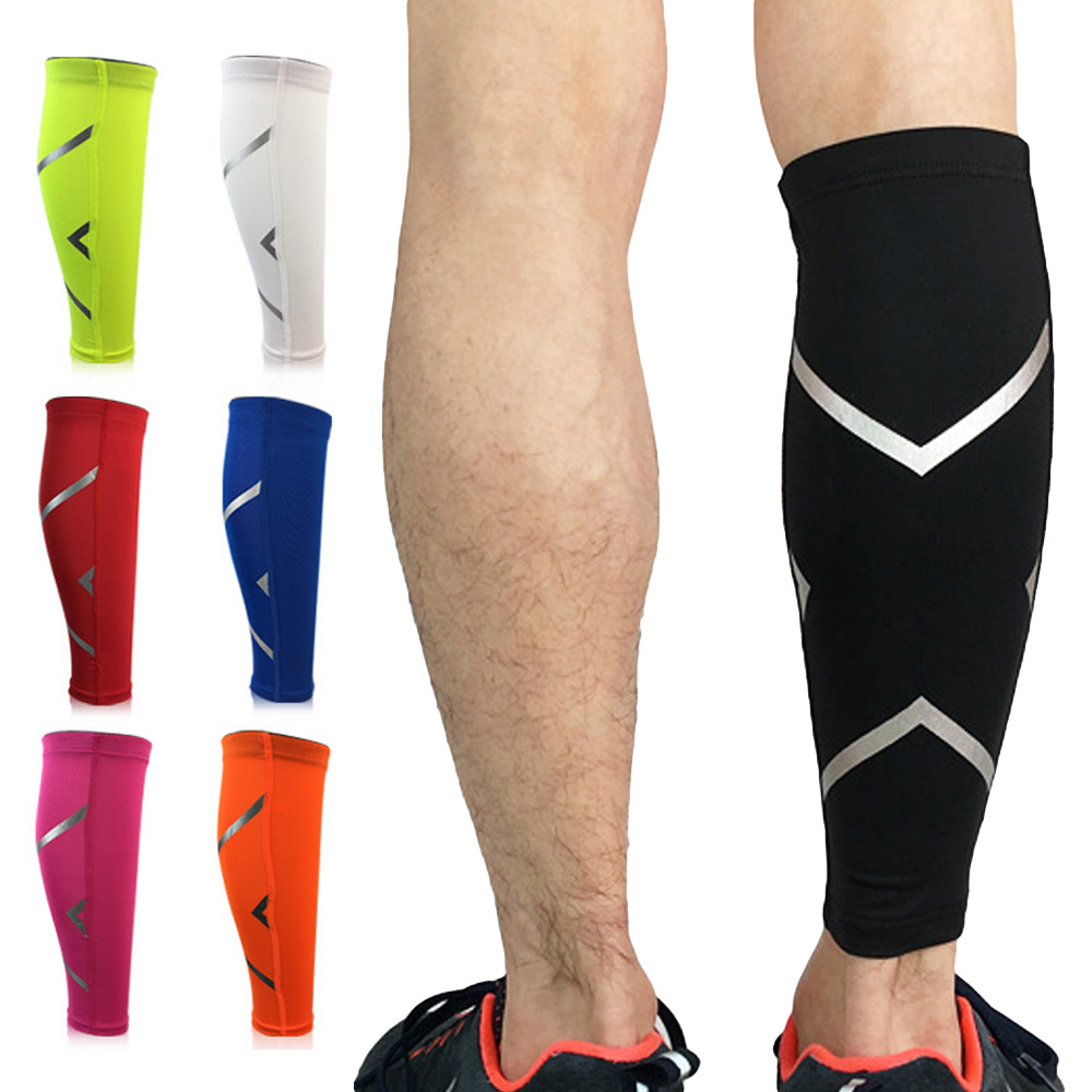 Reflective Strip Design Elastic Sport Leg Socks Sleeve Support Lower Leg Pad LFSPR0014