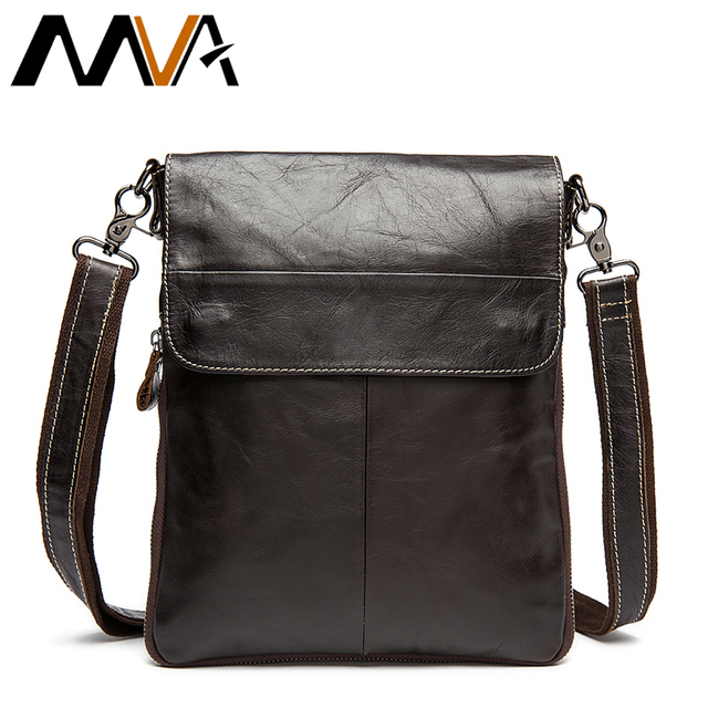 5402fb2238 MVA Men s Genuine Leather Bag Man Casual Shoulder Crossbody Bags Zipper Messenger  Bag Men s Shoulder Bags