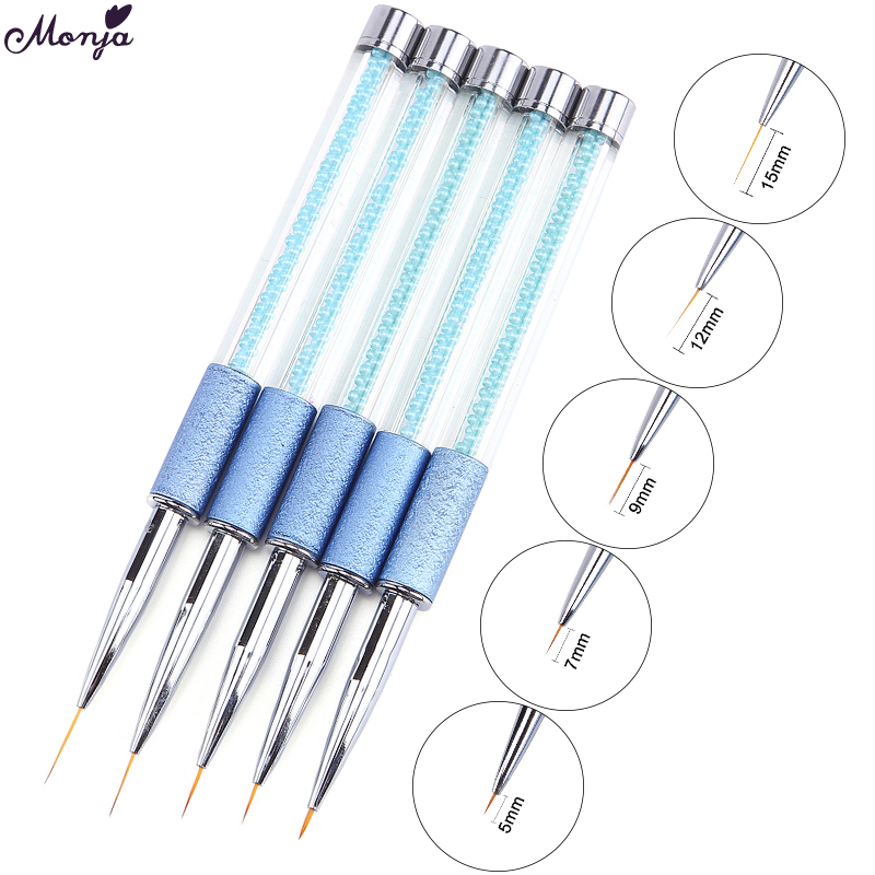 Monja 5/7/9/12/15mm Pearl Acrylic Nail Art Liner Brush French Lines Stripes Grid Flower Painting Drawing Pen DIY Manicure Tools