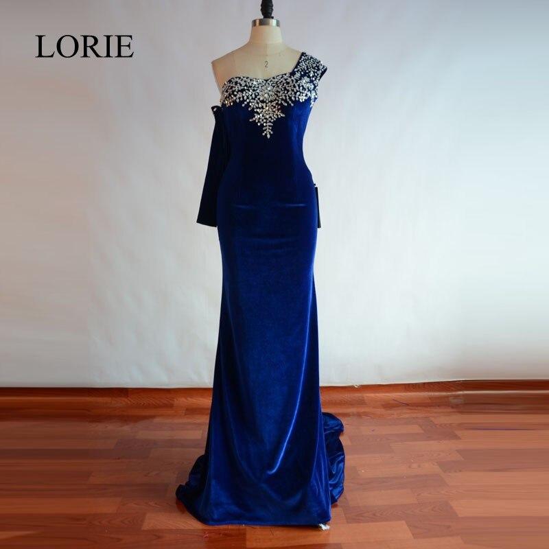 Royal Blue Mermaid Evening Gowns 2018 Velvet One Shoulder Crystals Elegant Women Long Prom Dresses Formal Party Dress