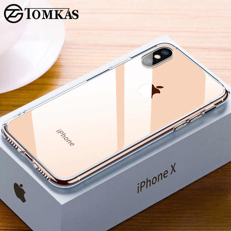 TOMKAS Premium Glass Case For iPhone XS XR XS Max X Cases Transparent Silicone Edge Glass Back Cover Case For iPhone 7 8 Plus X