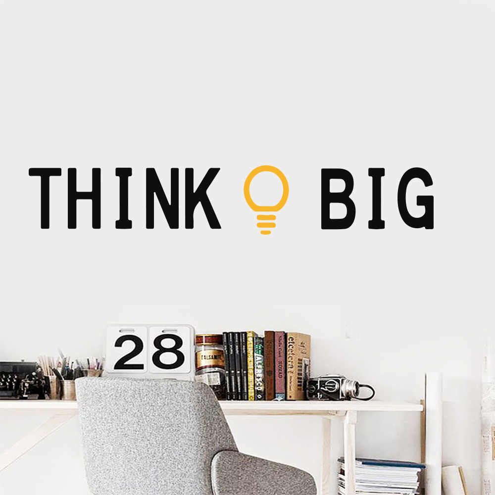 Quotes Think Big Gold Idea Home Wall Stickers Mural Art Office Classroom Bedroom Decor Kids Room Decoration Accessories Nature