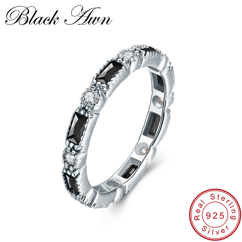 [BLACK AWN] Real 925 Sterling Silver Finger Ring Trendy Round Wedding Rings For Women Sterling Silver Jewelry C419