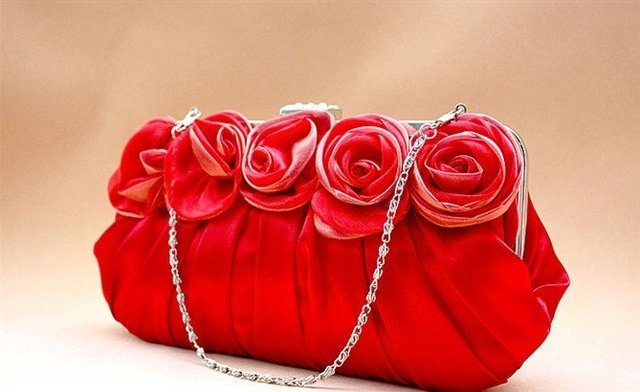 60433fcb93 Free shipping Red Rose satin flowers handmade lady s evening handbag ...