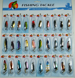 Image 1 - 30Pcs/set Assorted Fishing Lures CrankBait Laser Spinners Spoon Fishing Tackle Treble Hook Lure Spinner Metal Fishing Wobblers