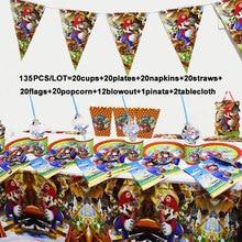 135/78 sztuk Mario Bros urodziny Party materiały dekoracyjne zestaw Super Mario serwetki obrus kubki talerze jednorazowe zastawy stołowe zestaw