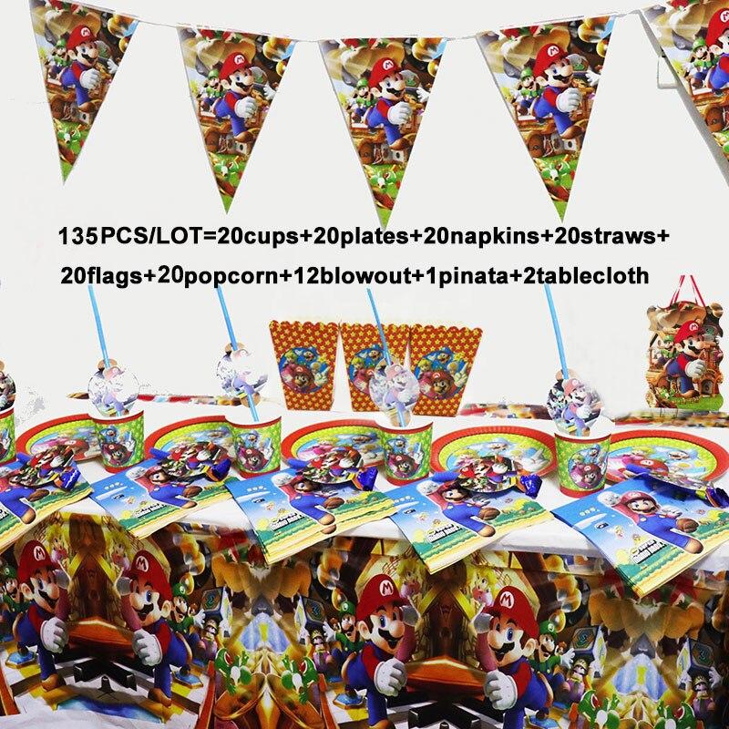 135/78pcs Mario Bros Birthday Party Decoration Supplies Set Super Mario Napkins Tablecloth Cups Plates Disposable Tableware Set