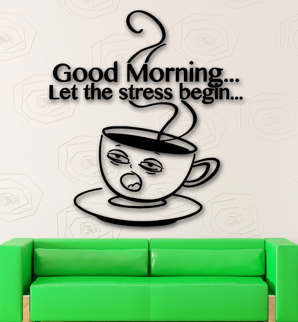 Wall Stickers Vinyl Decal Kitchen Cafe Coffee Good Morning Quote Decor