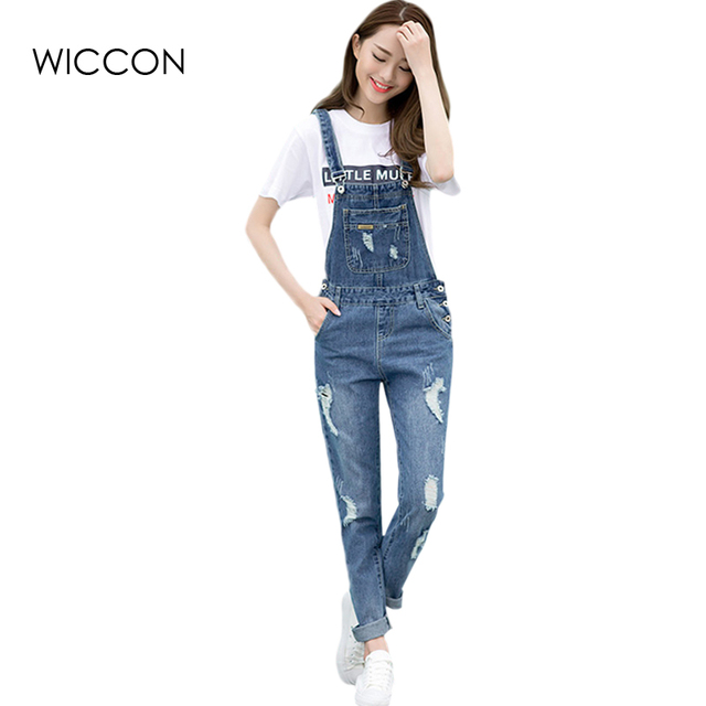 Spring Fashion Ripped Jeans Jumpsuits Ladies Girls Long Pants Casual
