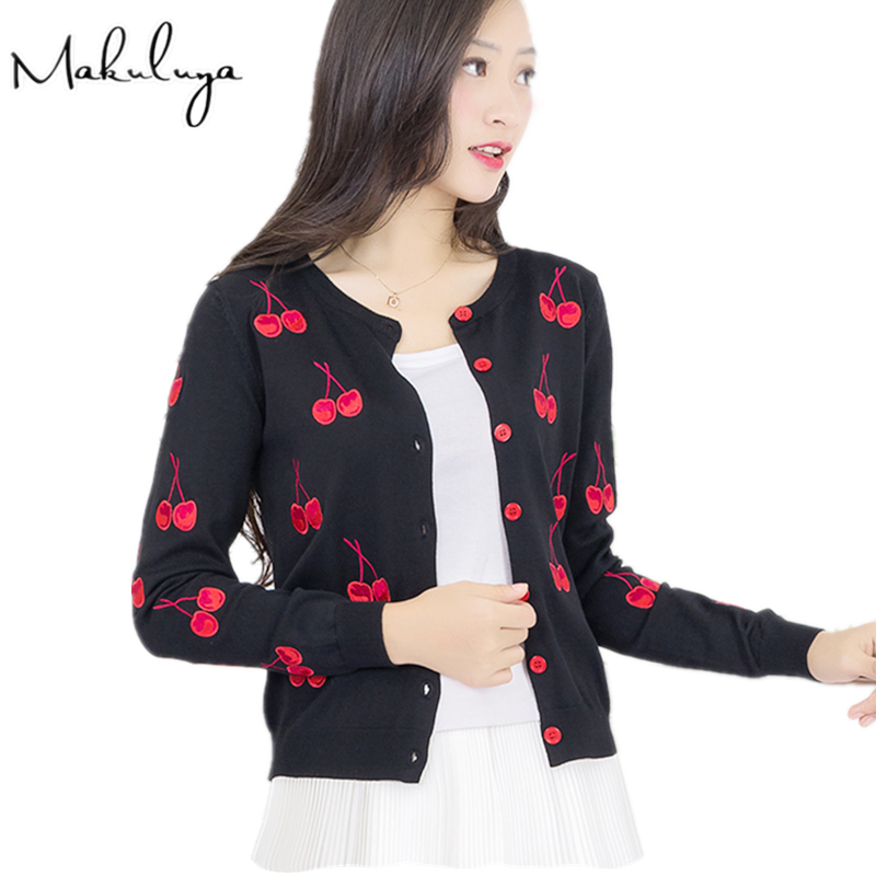 Makuluya Knitting Cardigan Coat Sweater Embroidery Cherry Spring Women Vintage Jacket