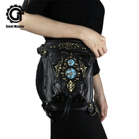 Steampunk Street Leg Bag Belt Clear Leather Fanny Pack for Women Chest Crossbody Vintage Black Mini Thigh Holster
