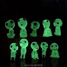 5pcs נסיכה מונונוקי זוהר סטודיו Ghibli שרף פעולה איור Kodamas זוהר בחושך צלמיות Elf עץ בובות דגם ילדים צעצועים
