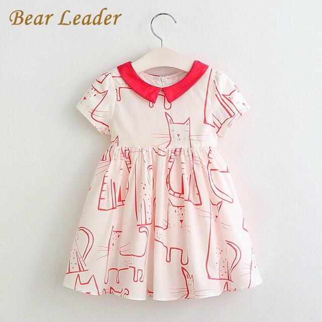Bear Leader Девушки Одеваются 2017 Новый Летний Стиль Платья Дети Одежда Красный Короткий Рукав Животных Печати Дизайн для Девочек Одежда