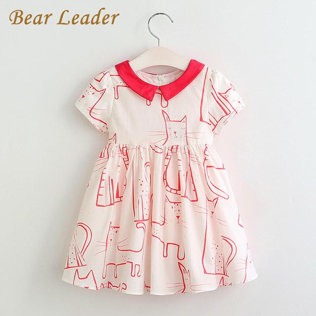 Bear leader muchachas del vestido 2017 nuevo estilo del verano vestidos niños ropa de manga corta de color rojo diseño animal print para las niñas ropa