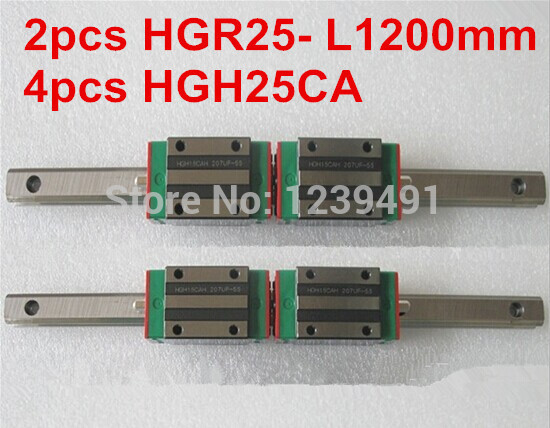 2pcs HIWIN linear guide HGR25 -L1200mm with 4pcs linear carriage HGH25CA CNC parts