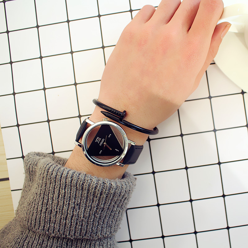Simple Harajuku Triangle Watch Personality Fashion Double-sided Hollow Korean Trend Student Couple WatchSimple Harajuku Triangle Watch Personality Fashion Double-sided Hollow Korean Trend Student Couple Watch