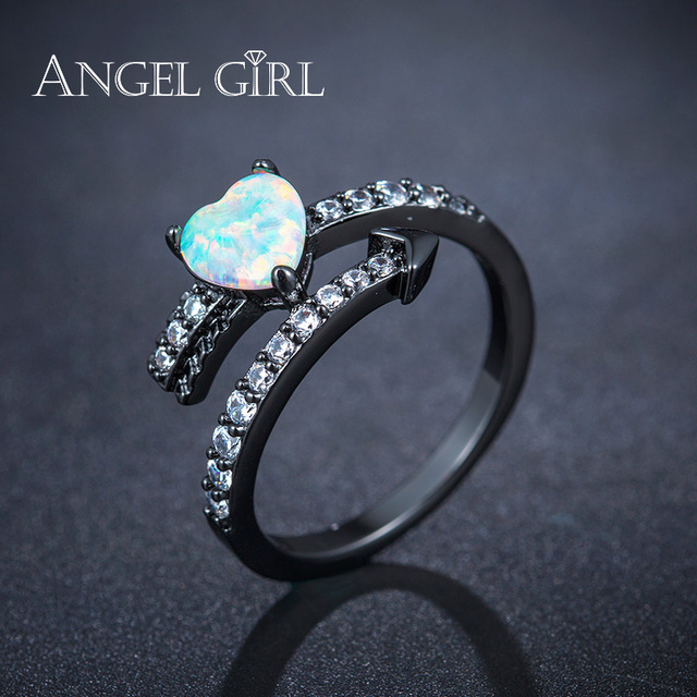 angel girl hot luxury special jewelry heart shape 7mm fire opal 3 prongs black bridal - Opal Wedding Ring Sets