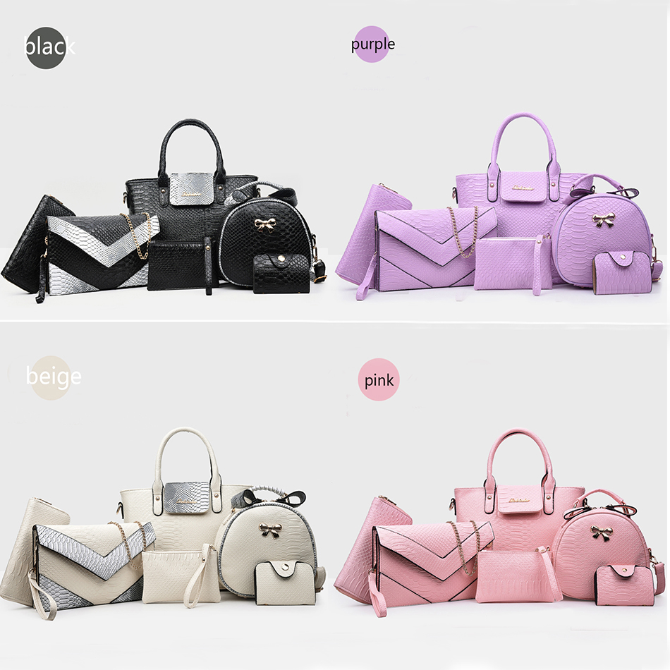 6pcs Women Handbag Set Fashion Leather Alligator Shoulder Crossbody Bags Ladies Messenger Tote Bag Purse Clutch Composite Bag