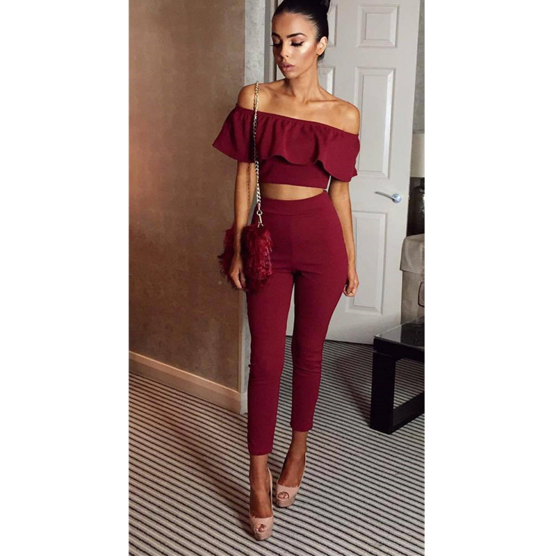 Fashion Two Piece Women Sets Sexy Slash Neck Crop Ruffle Tops And Long Pants Set Autumn Short Sleeve Two Pieces Feminino
