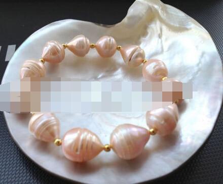 LIVRAISON GRATUITE >>>@@> 00989 rose baroque perle d'eau douce bracelet
