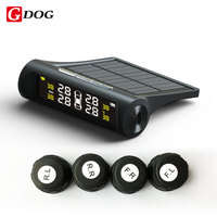 G-hond x1 externe sensoren TPMS zonne-energie draadloze bandenspanningscontrole systeem black case met led display ondersteuning USB lading