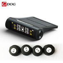 G-perro x1 sensores externos TPMS tire pressure monitor de sistema solar power wireless negro caso con soporte de pantalla de leds de carga USB