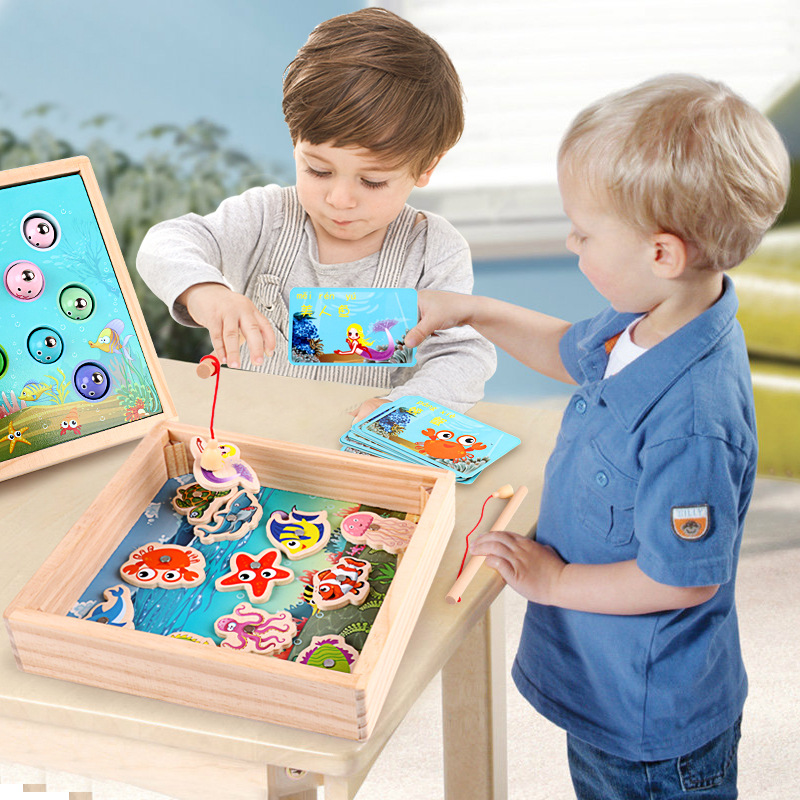 Baby Wooden Fishing Toys Magnetic Games Fishing Toy Game Kids 3D Fish Baby Kids Educational Toys Outdoor Funny Boys Girl Gifts