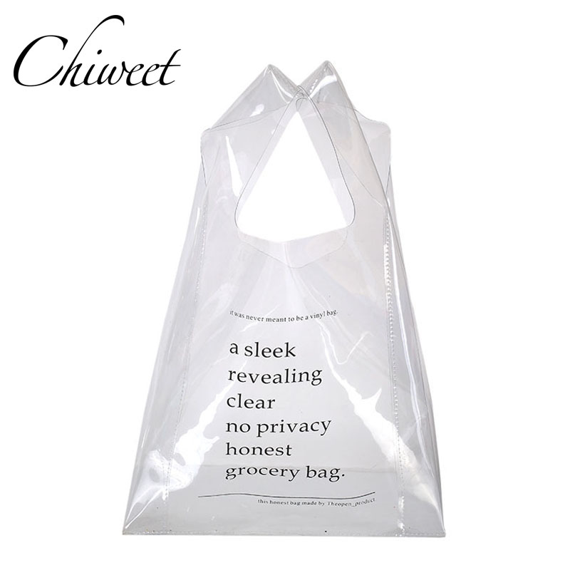 Designer Large Capacity Shopping Bag Fashion Letter Transparent Beach Bag Brand Luxury Handbag Women No Privacy Grocery Bags Sac