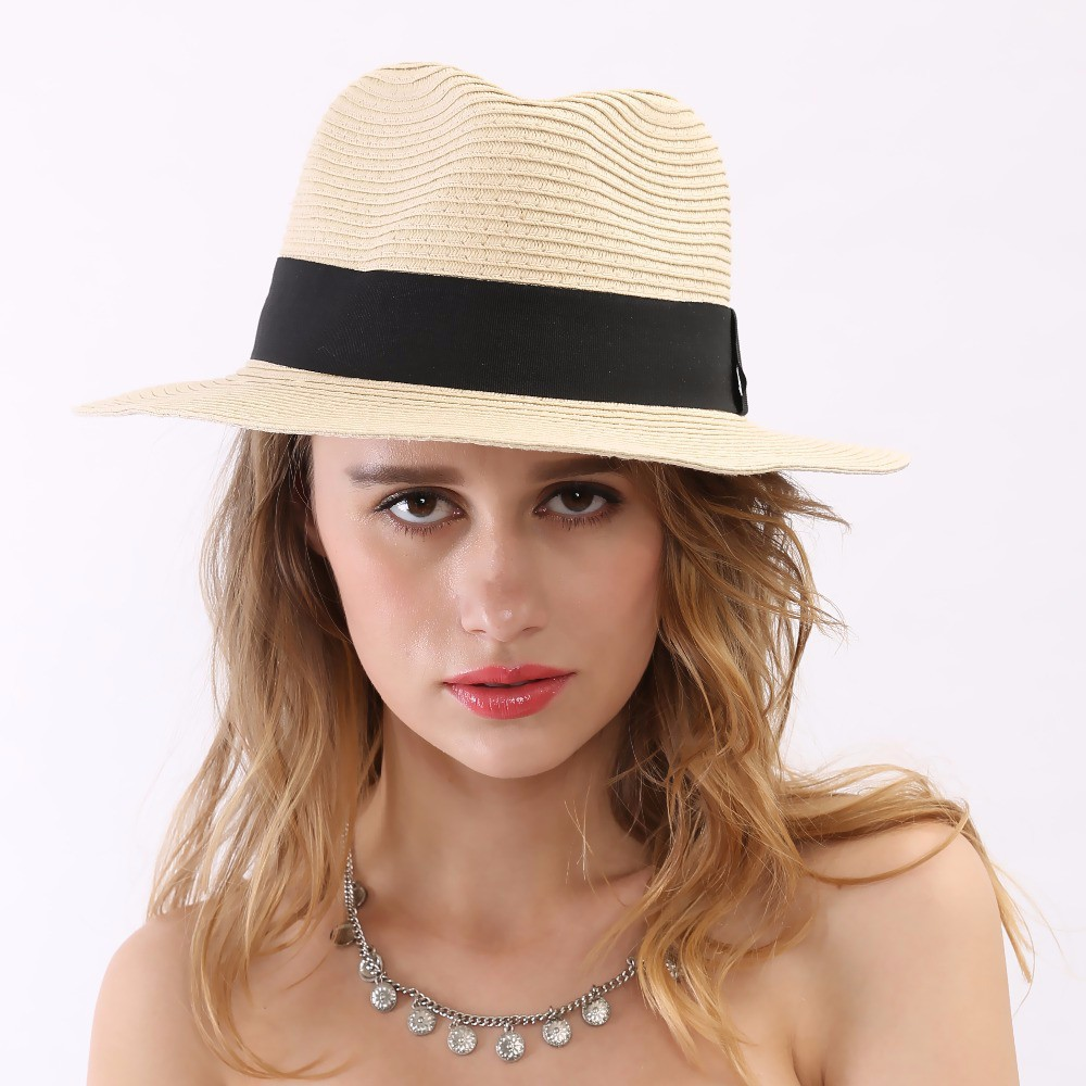 2015-Summer-Style-New-Black-Ribbon-Mens-Sun-Cheapeu-Fedora-Hat-Beige-Women-Wide-Brim-Floppy (5)