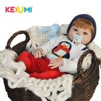 KEIUMI 23'' Baby Reborn Boy Dolls Realistic Full Vinyl Body Boneca Reborn For Kids Birthday Toys Silicone Baby Dolls Newborn