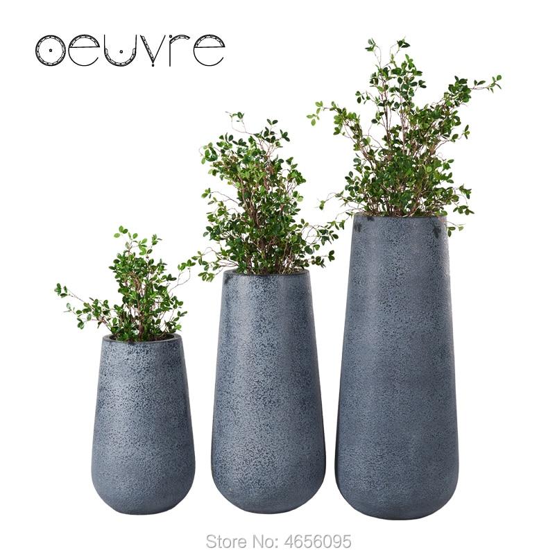 Oeuvre Creative Art Floor Large Flower Pot Modern Minimalist Floor Boughpot Concave Surface Simulation Cement Planter Flower Pots Planters Aliexpress