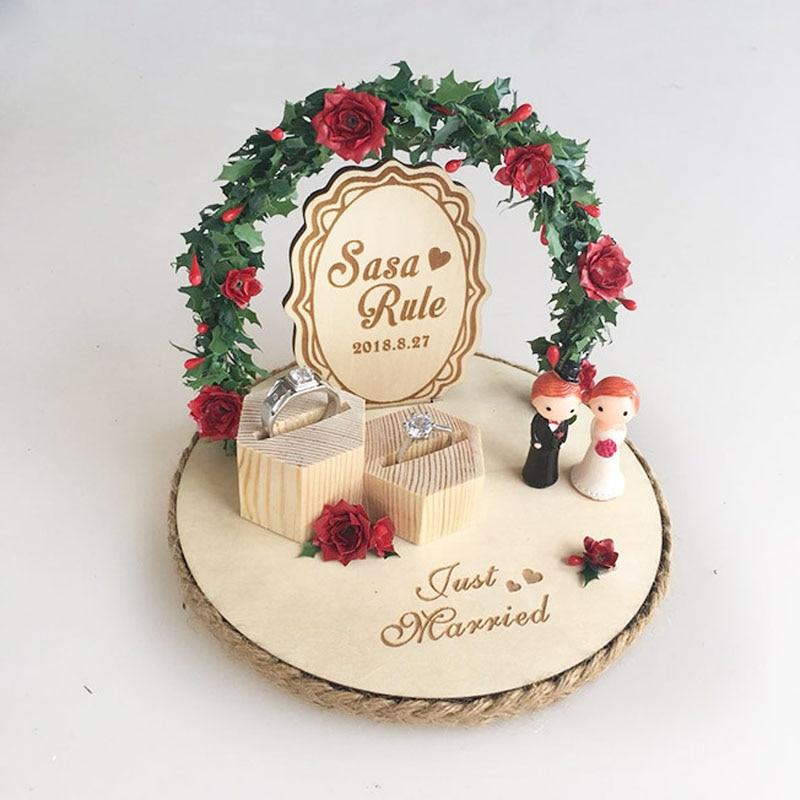 Personalizado rústico casamento anel de madeira caixa