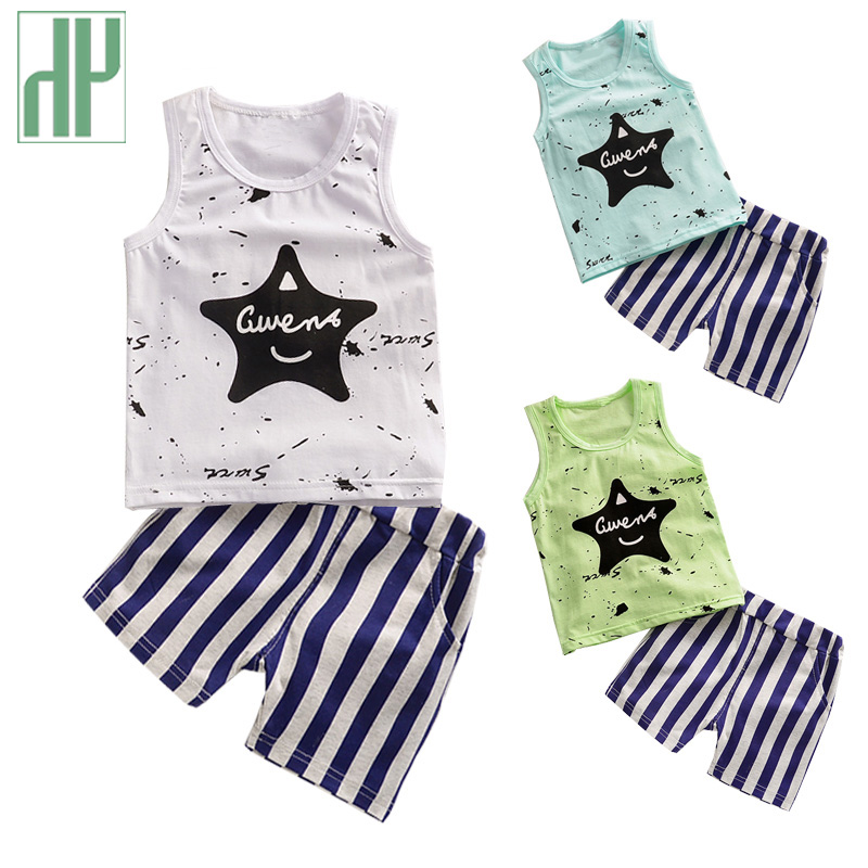 1-3 years Kids Boys Clothes summer style 2017 Baby Boy Clothes Children Toddler Boys boutique Clothing Set Cotton vest+shorts