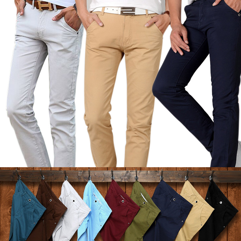 Fashion Men Slim Straight Casual Pants Cotton Linen Spring Summer Long Trousers With Pockets TY66