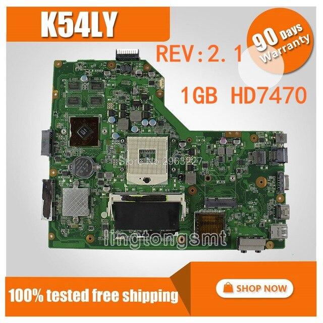 K54LY REV: 2.1 1 gb HD7470 Carte Mère Pour ASUS K54HR X54H K54LY Mère d'ordinateur portable HM65 DDR3 PGA989 K54LY carte mère 100% de travail