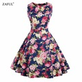 Zaful Retro PinUp Tutu Dresses Hepburn 50s 60s Rockabilly Robe Floral Print Dress Vintage Women feminino Vestidos Swing dresses