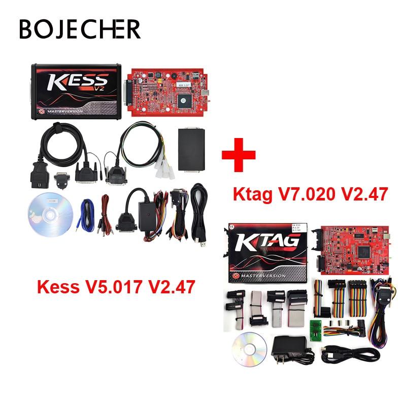 цена на DHL KESS 5.017 V2.47 MASTER OBD2 Tuning Kit Online Version and Ktag v7.020 No Token Limite ECM Titanium ECU Chip Tuning Tool
