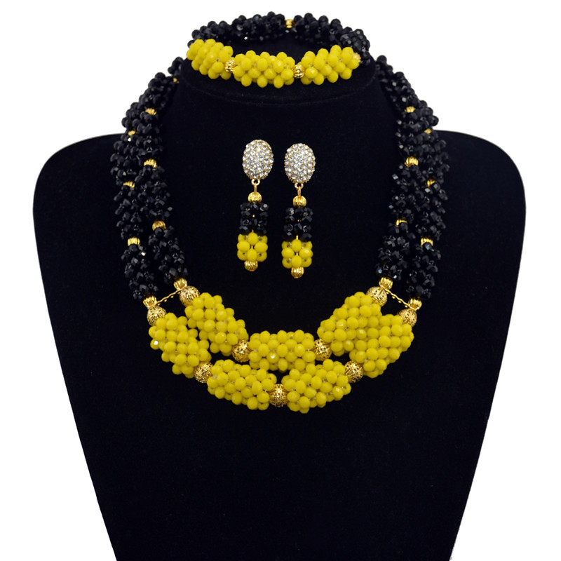 Jewelry Bridal Wedding African Beads Jewelry Sets Gold color Women
