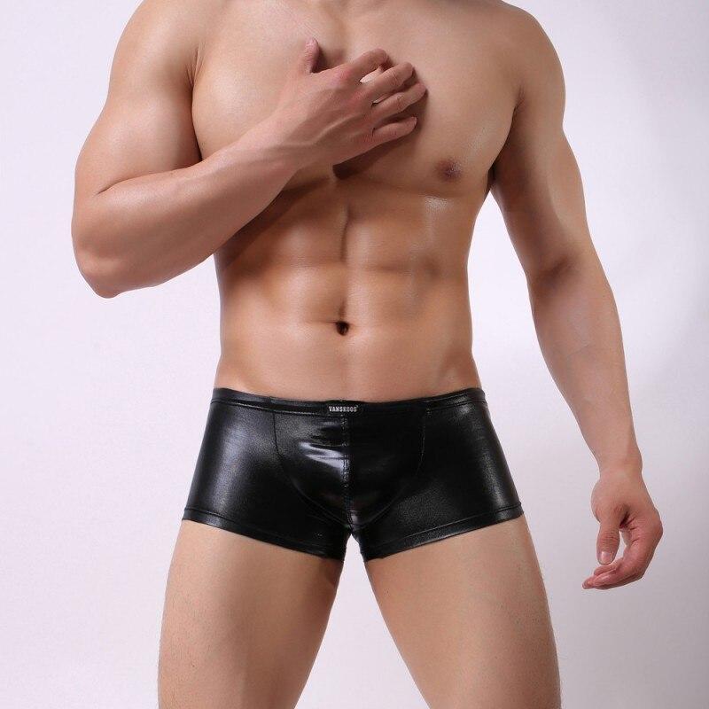 M - XL Excellent 4 Color Male Sexy Elastic Faux Leather Latex Boxer Short Underwears Low Waist Gay Men Jockstrap Boxers Lingerie
