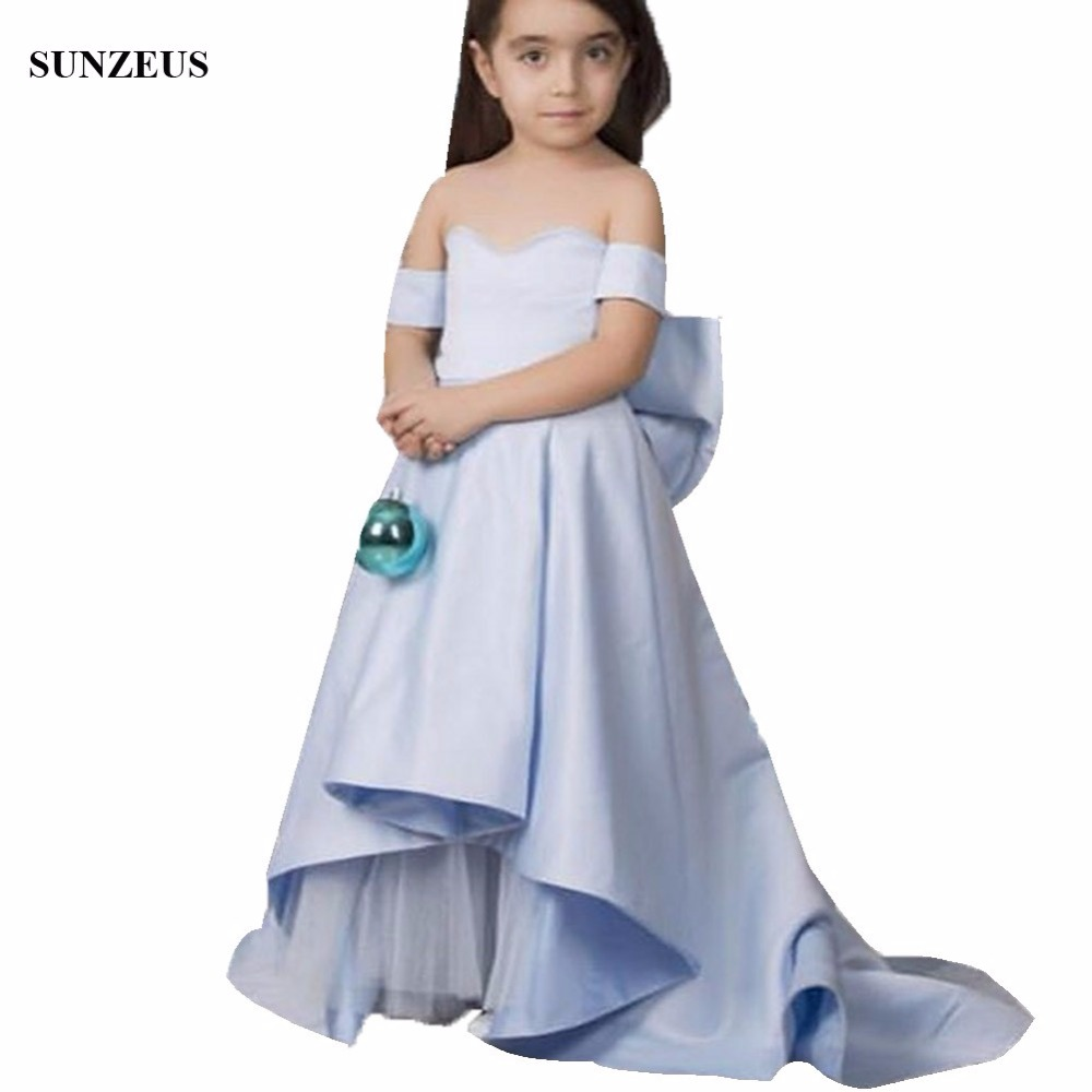 Blue Flower Girl Dresses Satin A Line Sweetheart Off Shoulder Long